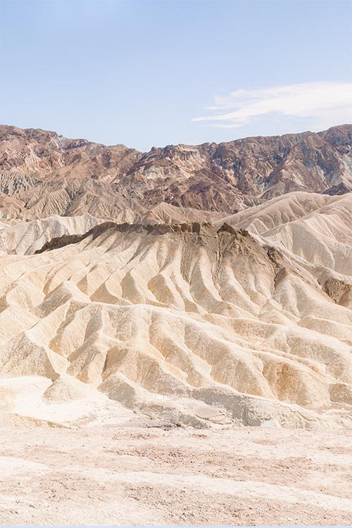 Fine Art photography of Zabriskie Point in Nevada, USA, with light and airy colors